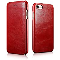 FUTLEX - Custodia a libro per iPhone 7 in vera pelle e in stile vintage - Rosso - Design esclusivo - Ultra sottile - Taglio e design precisi - Artigianale - Copertura Bibbia Red