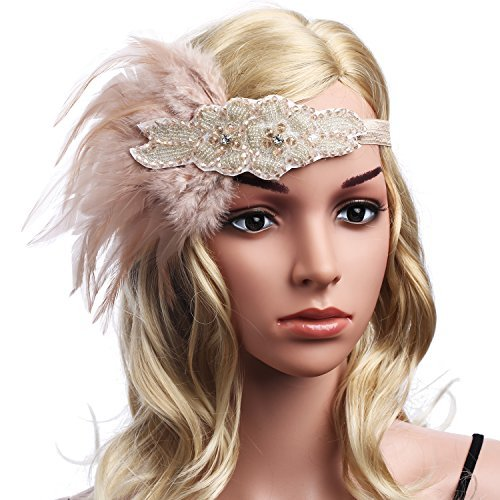 BABEYOND Vintage 1920's Flapper Headpiece Feather Headband 1920s Great Gatsby Headband Crystal 20s Art Deco Headpiece 1920s Headpiece Bridal for Party Prom (Pink)