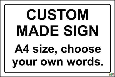 Custom made Plastic Sign - Black Text - 1.2mm rigid plastic 300mm x 200mm
