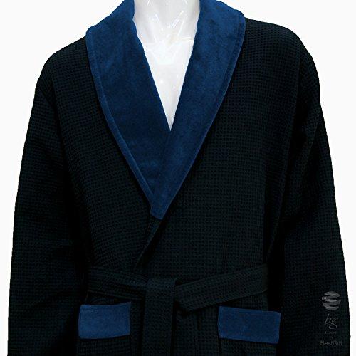 Blau Waffel Schalkragen Bademantel–100% Baumwolle, 100 % Baumwolle, Weiß, M (Schalkragen-waffel-bademäntel)