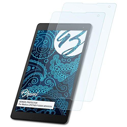 Bruni Schutzfolie für Medion LIFETAB P10506 MD60036 Folie, glasklare Bildschirmschutzfolie (2X)