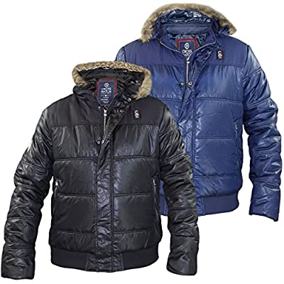 New Mens Crosshatch Designer Padded Shiny Parka Detachable Hood Jacket Coat