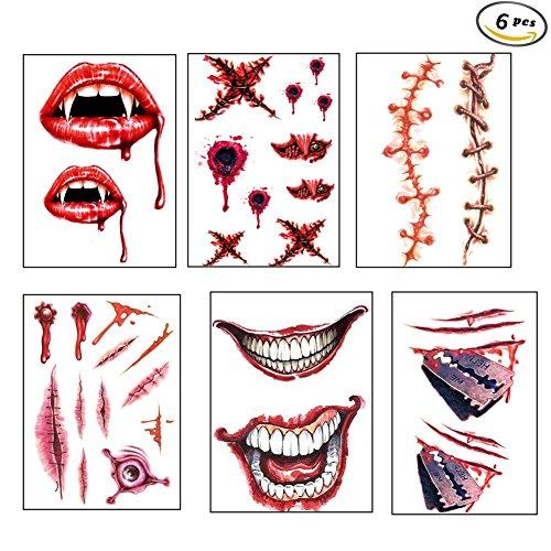 ttoos Narben Wunden Horror Temporäre Makeup Tattoos Aufkleber für Halloween Party (6pcs) (Einfache Halloween Makeup Wunde)