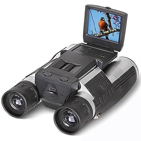2'' FHD Caméra Binoculaire Numérique, SGODDE 12x32 5MP Caméscope Enregistreur Vidéo - Ecran LCD HD 1080P, Idéal pour Observation des oieseaux, Randonnée, Camping, Chasse, Pêche et