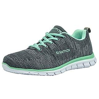 Knixmax Damen Sportschuhe Bequem Turnschuhe Atmungsaktiv Running Sneaker Outdoor Fitnessschuhe Leicht Laufschuhe EU 39-(UK 6) Grey-Green
