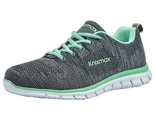 Knixmax Damen Sportschuhe Bequem Turnschuhe Atmungsaktiv Running Sneaker Outdoor Fitnessschuhe Leicht Laufschuhe EU 36-(UK 3) Grey-Green