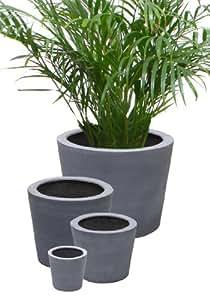 Polystone Pot rond Gris 25 x 30 cm-Lot de 2