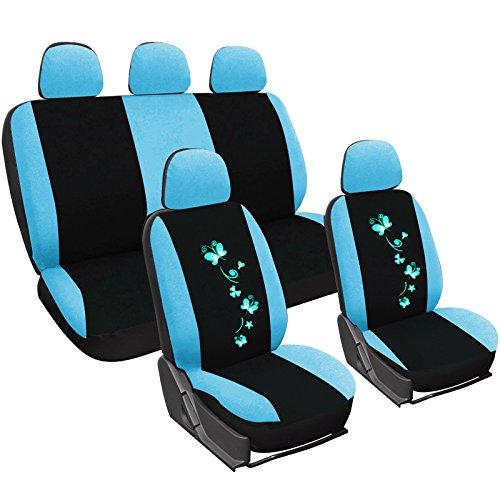 WOLTU AS7250bl Set Coprisedili Auto 5 Posti Seat Cover Protezioni Universali per Macchina con Motivo Farfalle Tessuto Poliestere Blu/Nero