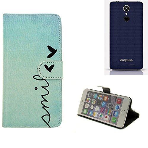 K-S-Trade® für Emporia SMART.2 Wallet Case Schutz Hülle Flip Cover Tasche ''Smile'', türkis