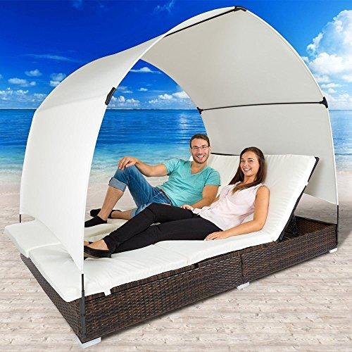 Chaise longue Chaise longue de poli rotin avec parasol en aluminium