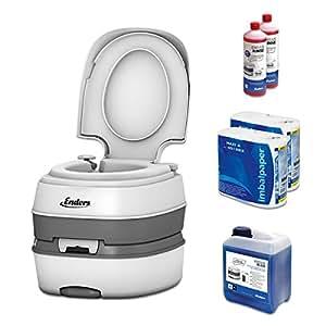 WC chimique portable pour camping, kit de démarrage Enders Blue 5,0 Deluxe avec produit additif et papier hygiénique - toilette chimique