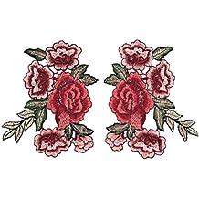 OULII Bordado Rosa Floral Costura Patch Scrapbooking grabado en relieve para Craft Collar Busto Vestido Pack Applique Pack 4pcs