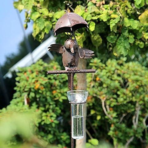 TOM-GARTEN Stabiler Regenmesser 'Tom'   dekorativer Gartenstab für den Garten und die Terasse   lustige Vogelfigur ziert die Spitze   mit integriertem Regenmesser für genaue Messungen