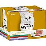 Gourmet Gold Les Mousselines Multivariétés - 24 x 85 g - Boîtes pour Chat Adulte - Lot de 4