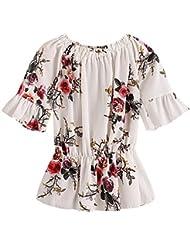 LILICAT Mujeres de gasa de manga corta de impresión Blusa Top O cuello camiseta (XL)