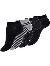 Lot de 8 paires de socquettes pour femme - design «points et rayures», coton, rayures, points - femme