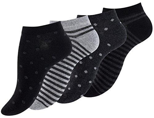 """8 Paar Damen Füßlinge & Sneaker Socken \""""Dot´s and Stripes\"""", Baumwolle, Ringel, Punkte"""