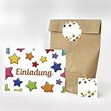 Set mit 16 x Einladungskarten, Party-Tüten und runden Aufklebern zum Kinder-Geburtstag - Motiv Sterne Einladung - Geburtstags-Einladungen Karten mit Geschenk-Tüten (Kreuzbodenbeutel) und Sticker in einem Paket