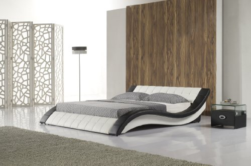 i-flair Polsterbett R0WB 180x200 cm Schwarz-Weiß aus hochwertigem Kunstleder