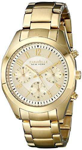 Caravelle by Bulova New York 44L118 38mm Gold Plated Stainless Steel Case Gold Plated Stainless Steel Mineral Women's Watch