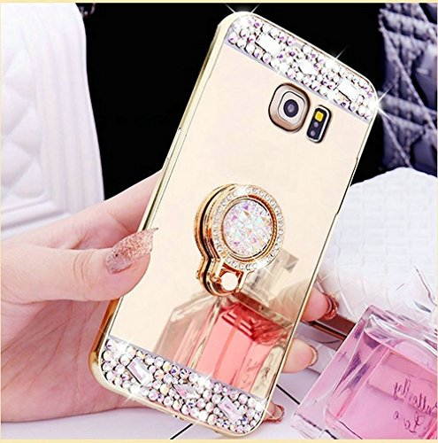Paillette Coque Housse Etui pour Galaxy A3 2017, Galaxy A3 2017 Coque en Silicone Bling Housse Etui Gel Slim Case Soft Gel Cover, Ukayfe Or Rose Coque Etui de Protection Cas en caoutchouc en Ultra Sli Paillette Or Rose-Diamant