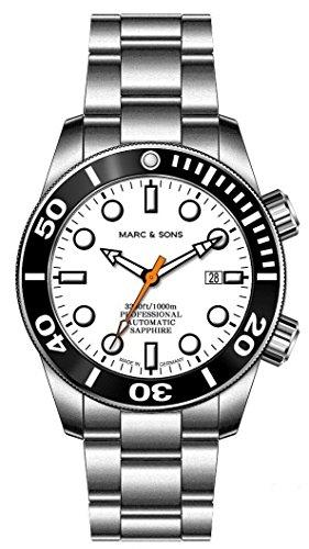 Marc & Sons 1000m automatico Diver orologio, Vetro Zaffiro, Elio valvola...