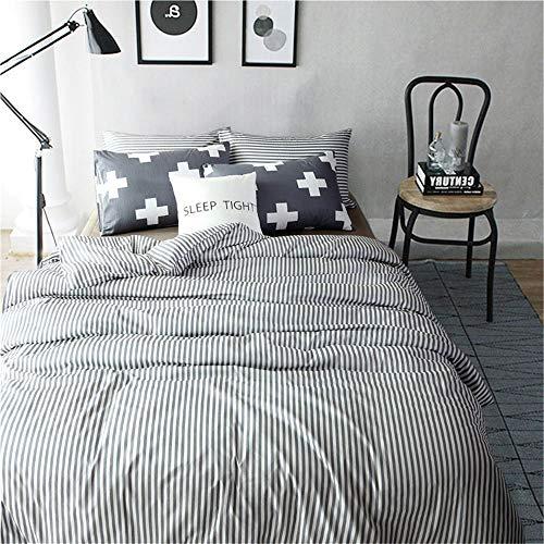 Moon's Sleepwares Bettwäsche-Set für Queen, 3-teiliges Set, gestreifter Bettbezug (228,6 x 228,6 cm) mit 2 Kissenbezügen, Mikrofaser-Hotel-Kollektion, bequem, atmungsaktiv, weich und extrem langlebig -