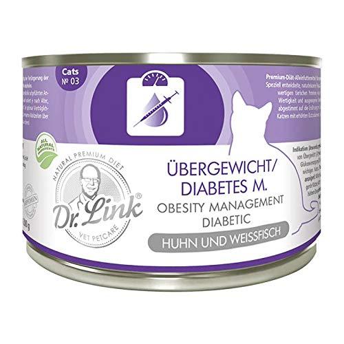 Dr. Link Spezial-Diät Übergewicht/Diabetes mellitus I Obesity Management/Diabetic Huhn und Weißfisch  6 x 200 g   Nassfutter für Katzen