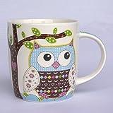 1 Stk. Henkeltasse mit Eule groß - Keramik Trinktasse mit Henkel Tasse Becher Eulenmotiv Tassen Porzellantasse