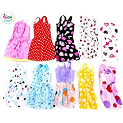 IDream Handmade Party Dress Fashion Clothes for Barbie Doll Play House,Multi Color (10 Pieces)