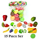 plus point ABS Realistic Sliceable Fruits and Vegetables Cutting Play Set, 15 Pieces (Multicolour)