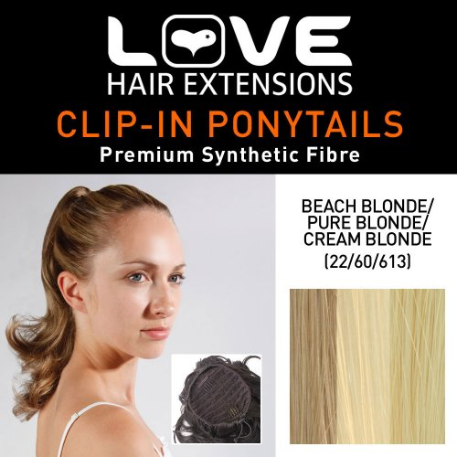 Love Hair Extensions - LHE/N/PERCILLA/DS/22/60/613 - Prime de Fibres Percilla - Cordon Coulissant - Queue de Cheval - Couleur 22/60/613 - Blond Plage/Blond Pur/Blond Crème