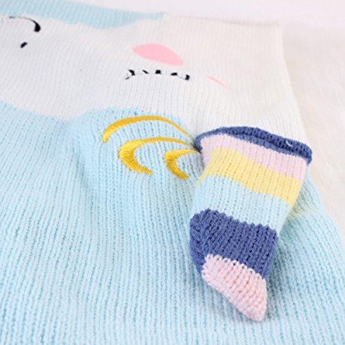 puseky Baby Kids Cute Kaninchen Ohr Soft Warm Stricken Decke Schlafsack Swaddle Wrap Quilt Light Blue-unicorn