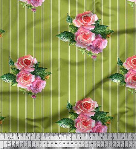 Soimoi Grun Baumwolljersey Stoff Streifen, Blätter & Rose Blumen- Dekor Stoff gedruckt 1 Meter 58 Zoll breit