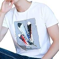 GZZ Camiseta Deportiva de Verano, Manga Corta Estampada de Personalidad Masculina, Blanca,1,L