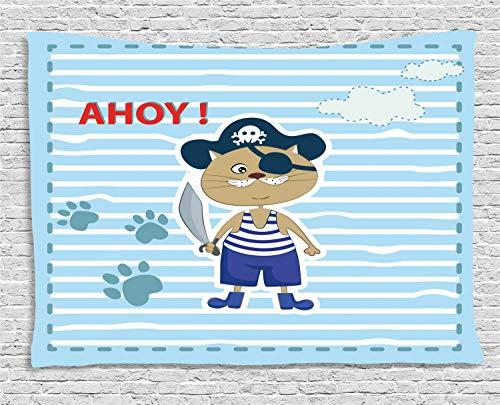 (ABAKUHAUS Ahoy Its a Boy Wandteppich, Netter Katzen-Pirat AHOI, Wohnzimmer Schlafzimmer Heim Seidiges Satin Wandteppich, 200 x 150 cm, Violettblau Türkis Rot)