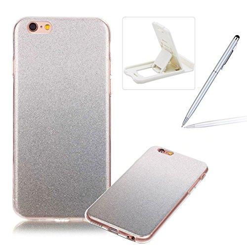 iPhone 6S Plus Hülle Weiches Silikon Glitzer Schutzhülle Tasche Case,iPhone 6 Plus Hochwertig Leicht Gummi Schutz Hoch Handyhüllen Schale Etui,Herzzer Modisch Luxus Silikon Bunt Hülle [Farbverlauf Gra Silber