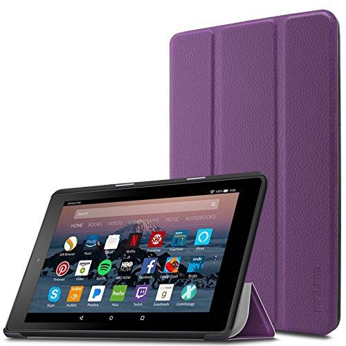 Infiland Fire 7 Tablet Case- Slim Cover Lightweight Schutzhülle Tasche mit Standfunktion und Auto Schlaf/Wach Funktion für Fire 7 (7-Zoll, 7. Generation - 2017),Lila