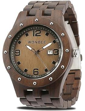 [Gesponsert]WONBEE Holzuhr für Männer - Handgefertigte Kunsthandwerk Holz Uhren-Holz Uhrenarmband-Holz Lünette - MRP Serie...