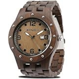 WONBEE Reloj De Madera Para Hombres-Artesanía Artesanal Madera Relojes-Madera Reloj-Madera Bisel-MRP Serie Ebony