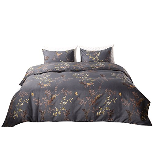 Qucover Mikrofaser Bettwäsche Bettbezug 155 x 220 cm + 2 Kissenbezüge 80 x 80 cm 3 Teilige Bettwäsche Set mit Reißverschluss Dunkelgrau -
