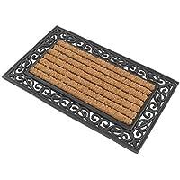 1 x Premium Fußmatte aus Gummi und Kokosfasern, 76 x 46 cm   ✓ 3,5 kg Fußabtreter verhindert verrutschen ✓ Robuste & repräsentative Schmutzfangmatte, Sauberlaufmatte, Schmutzmatte ✓ Fußabstreifer für Eingangsbereich von Haus und Wohnung