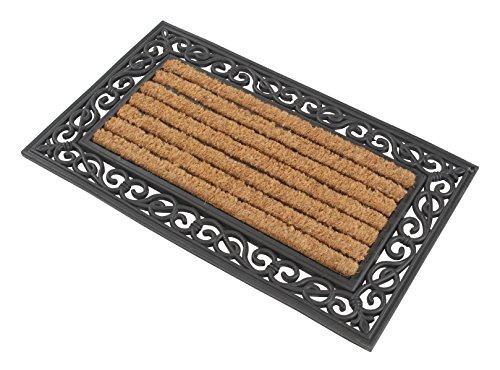 fusabtreter 1 x Premium Fußmatte aus Gummi und Kokosfasern, 76 x 46 cm | ? 3,5 kg Fußabtreter verhindert verrutschen ? Robuste & repräsentative Schmutzfangmatte, Sauberlaufmatte, Schmutzmatte ? Fußabstreifer für Eingangsbereich von Haus und Wohnung