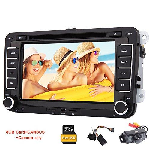 VW Autoradio mit TV-Backup-Kamera in Dash 7inch Screen-Auto-DVD-Player eingebaute 8 GB GPS Navigation Karten-Karte FM AM RDS Radio-Empfänger Bluetooth USB / SD Aux Optional Carlogot + CAN-Bus-Adapter