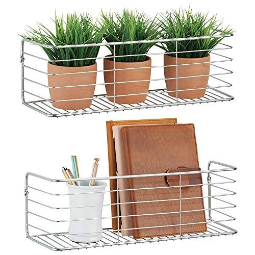 mDesign 2er-Set Wandregal für Bad, Küche, Flur oder Waschküche - breite Ablage zur Wandmontage aus Metalldraht - kompaktes Metallregal - silberfarben