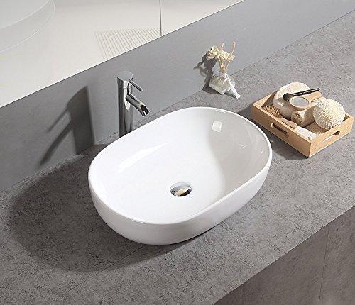 Basong Lavabo da Bagno di Design in Ceramica Lavandino da Bagno in Porcellana da Appoggio White non incluso Drain Valve