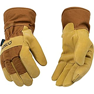 Kinco 1958-M-1 Suede pigskin, Brown duck fabric back & safety cuff, Lined safety cuff, Heatkeep thermal lining, Aquanot waterproof insert, Size: M