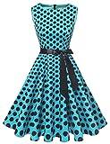 Gardenwed Damen 1950er Vintage Cocktailkleid Rockabilly Retro Schwingen Kleid Faltenrock Blue Black Dot L