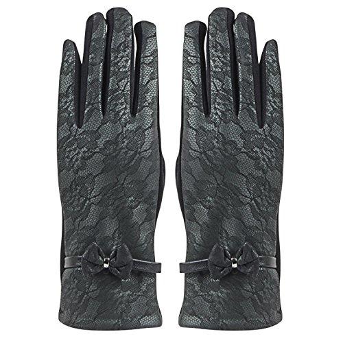 Bonjour Womens Leather Designer Winter Gloves (Black)