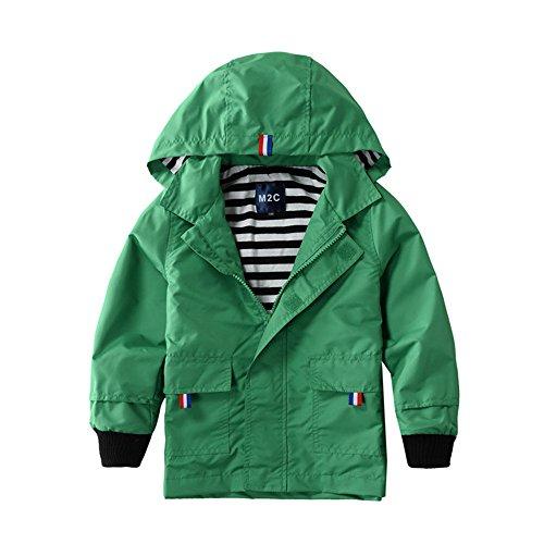 M2C Boys Raincoat Hooded Jacket Waterproof Coat Outdoor Light Windbreaker (Green)